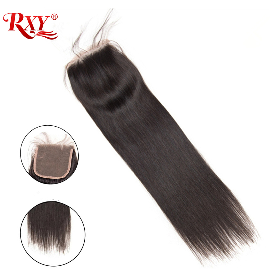 RXY Brazilian Straight Lace Closure Free Part 4x4 Swiss Lace Remy Human Hair Closure With Baby