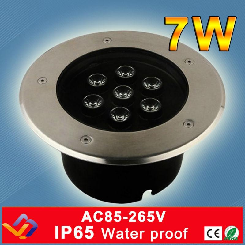 7 * 1W ronde LEIDENE ondergrondse lichte Stadiumtreden Tuinlicht Openlucht Begraven Vloerlamp Waterdichte roestvrij staal ondergrondse lamp