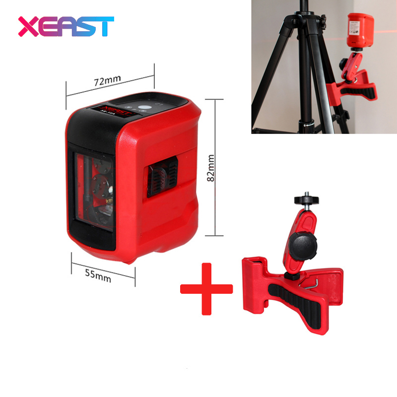 XEAST XE-15A 2 Lines Mini Red Laser Level Horizontal/Vertical Line Measuring Instrument Cross Laser With Oblique Line laser cast line instrument marking device 5 lines the laser level