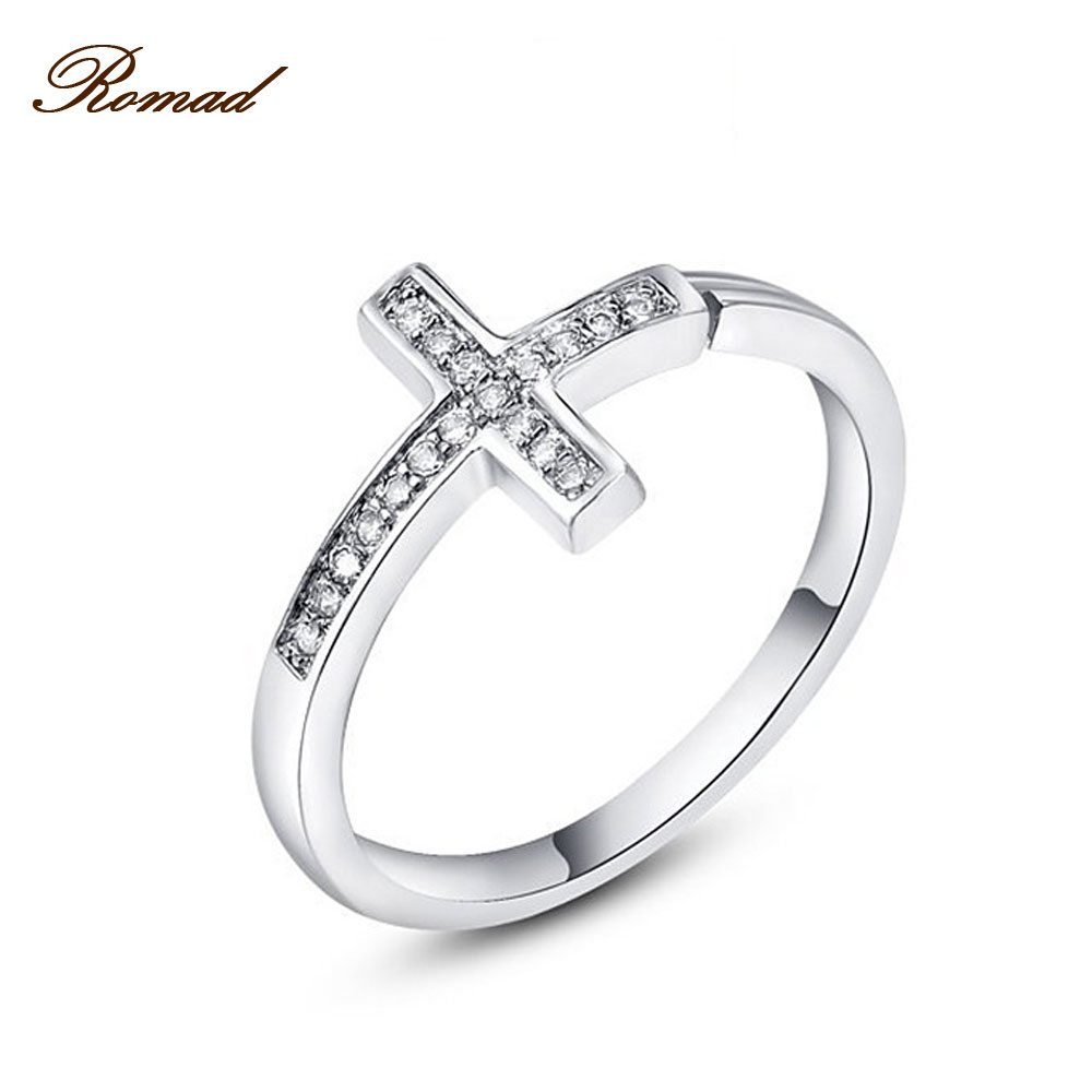 Romad New Collection Silver Color Double Layer Cross Ring Symbol Finger Ring for Women Silver Color Jewelry RG1414