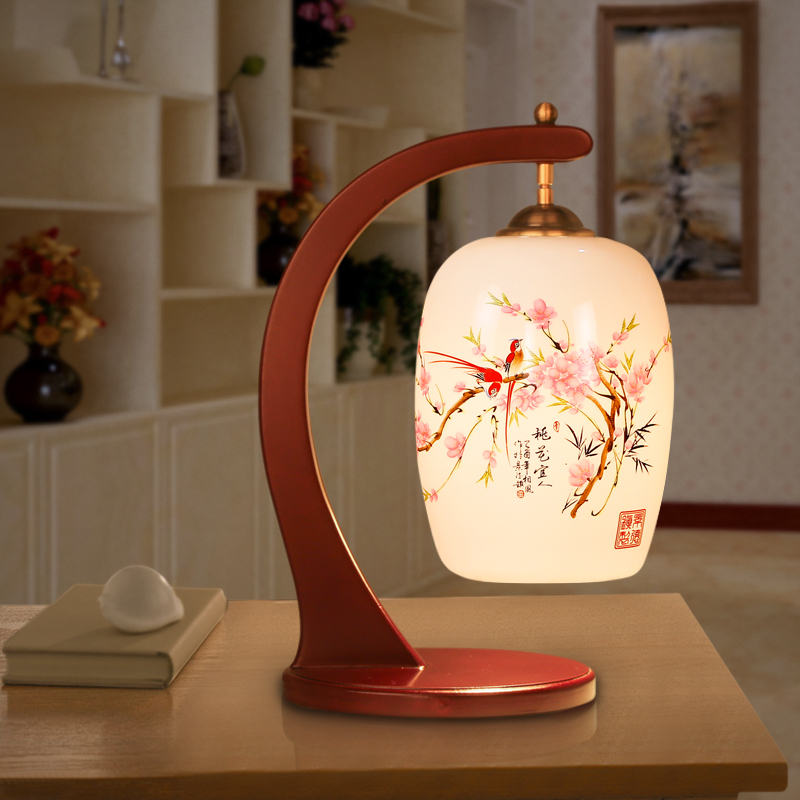 Russian Style Led Table Lamps For Living Room Jingdezhen Wooden Modern Light Handpainted Ceramic Lamp