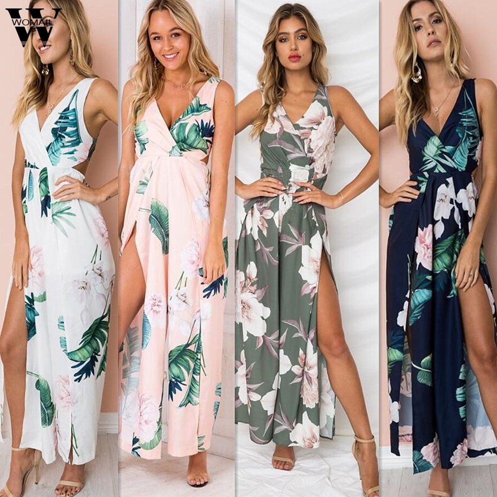 Womail Bodysuit Women Summer Casual Floral Strappy Jumpsuits Loose Stripe Playsuit Long Wide Leg Trouser Fashion2019  M1