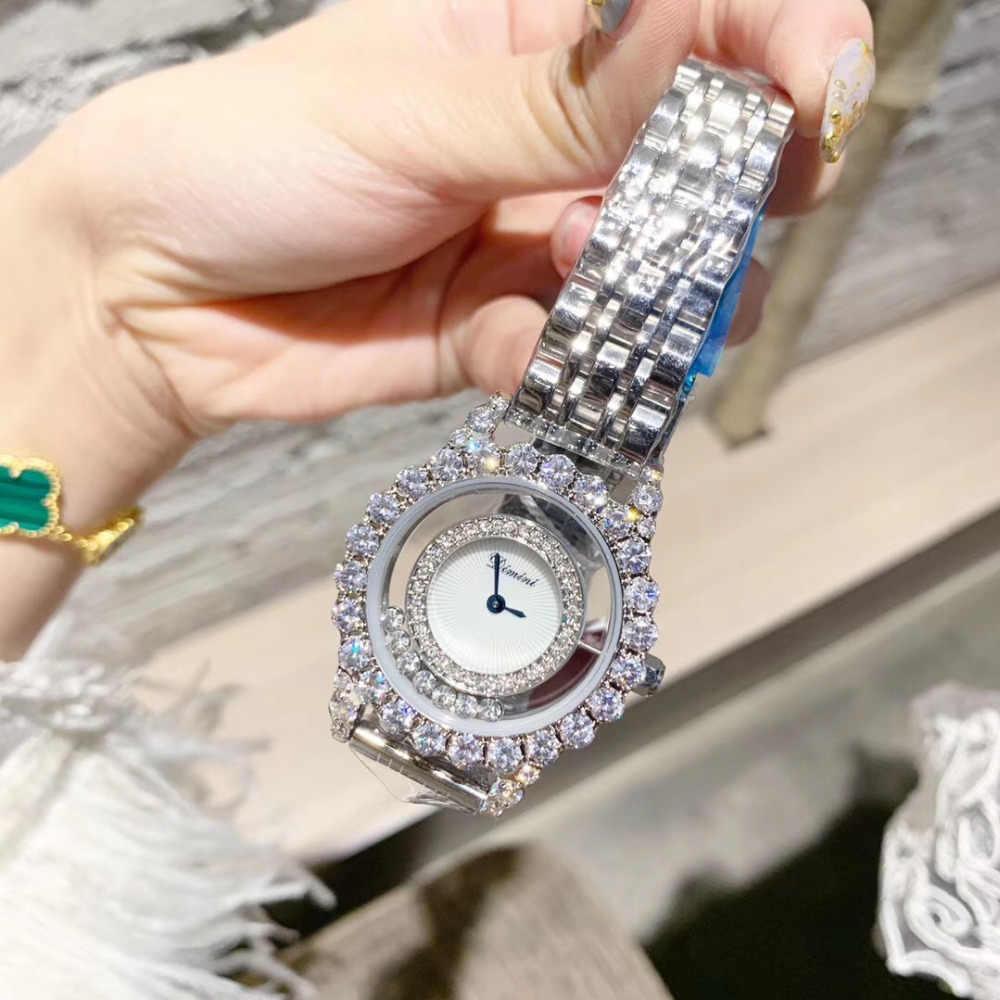 חדש מותג נשים יוקרה תכשיטים שעונים אופנה שקוף מטלטלין גבישים שמחים שעון מלא פלדת צמיד שעון יד קוורץ