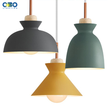 Nordic macaron Pendant Lights Wood Fashion Minimalist design LED  Dining RoomThree heads Indoor Lighting