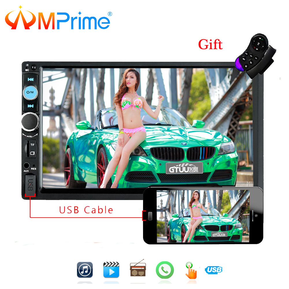 AMPrime 2 din Car Multimedia Player Audio Stereo radio 7 Touch Screen MP5 Bluetooth Android phone MirrorLink with Rear camera
