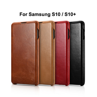 iCarer Case for Samsung S10 S10 Plus Curved Edge Vintage Series Genuine Leather Flip Back Cover Case for Samsung Galaxy S10 Plus