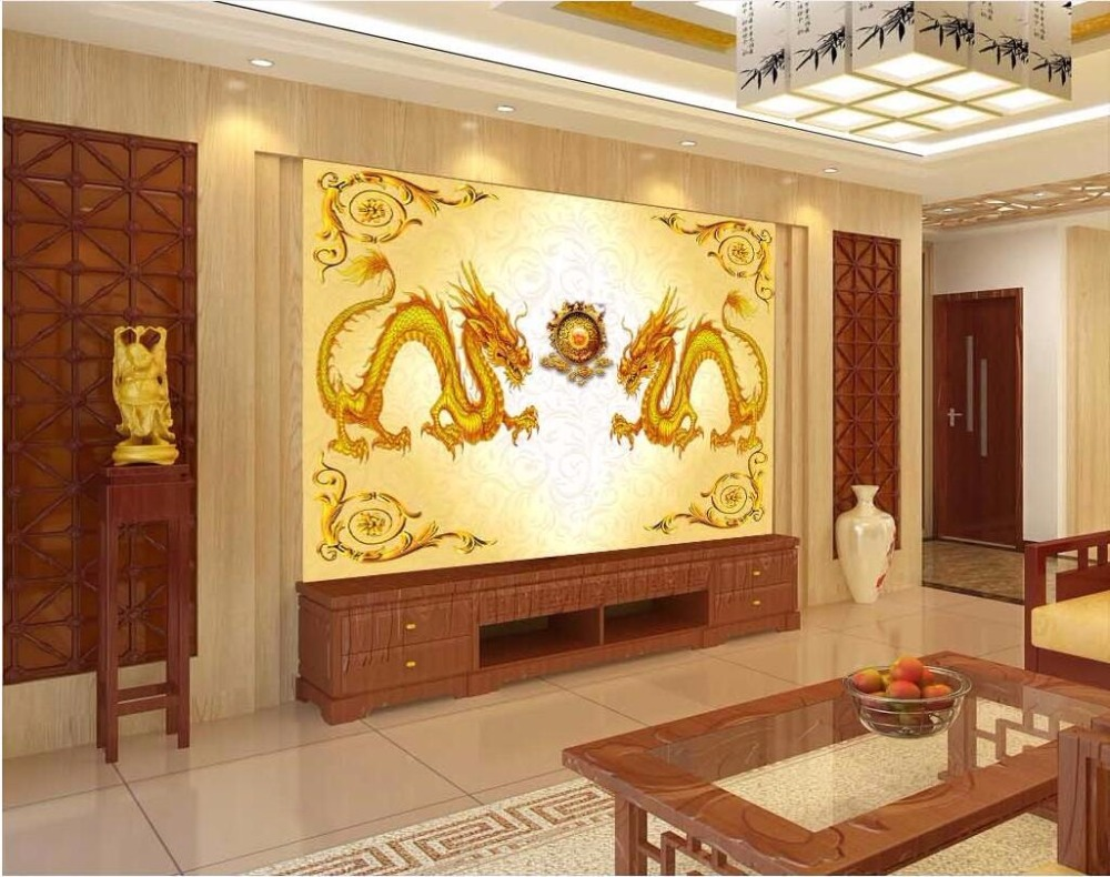 Custom mural 3d photo wallpaper Chinese style double dragon play ...