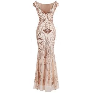 Image 2 - Angel fashions Cap Sleeve Bateau V Back Vintage Sequin Mermaid Long Evening Dress Light Coral 378