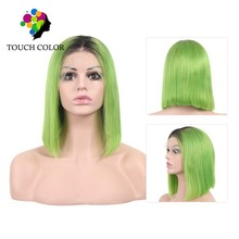 Touch Color 1B Lime Green 13x4 Top Straight Virgo Human Hair Ombre Lace Front Wig Transparent Lace Wigs Short Blunt Cut Bob Wig top beauty brown color skin top lace front wig so real and natural take action
