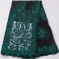Dark Green Nigerian French Net Lace Tulle Embroidered Swiss Voile African Lace Fabrics With Stones Beads