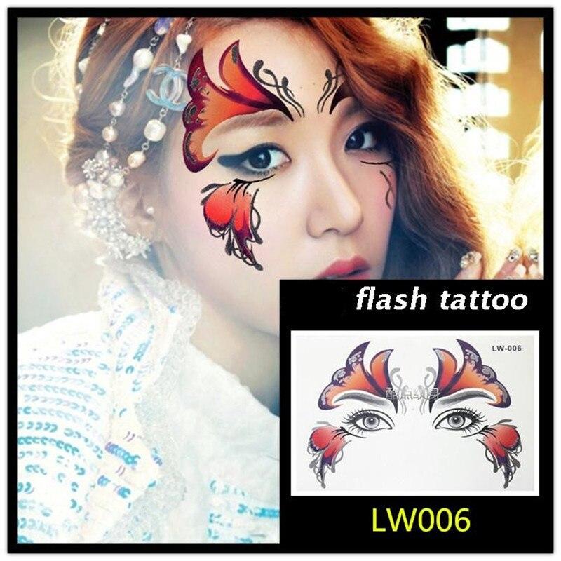 Купить с кэшбэком Krasivyy Face temporary tattoo stickers jewelry Arab India's large tattoos eyes Masquerade flash tattoo paste makeup girl tattoo