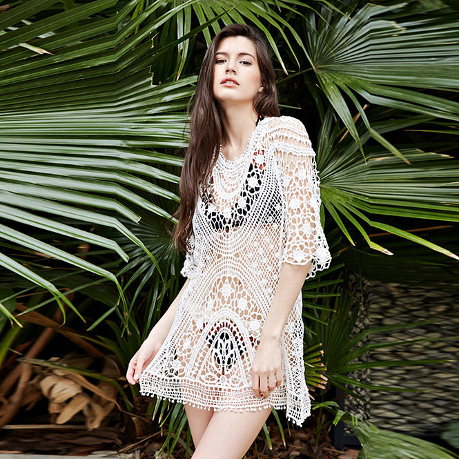 14366d96ee413 Women Swimwear Bikini Cover Up Tunic Dresses Crochet Tropical Tops ...