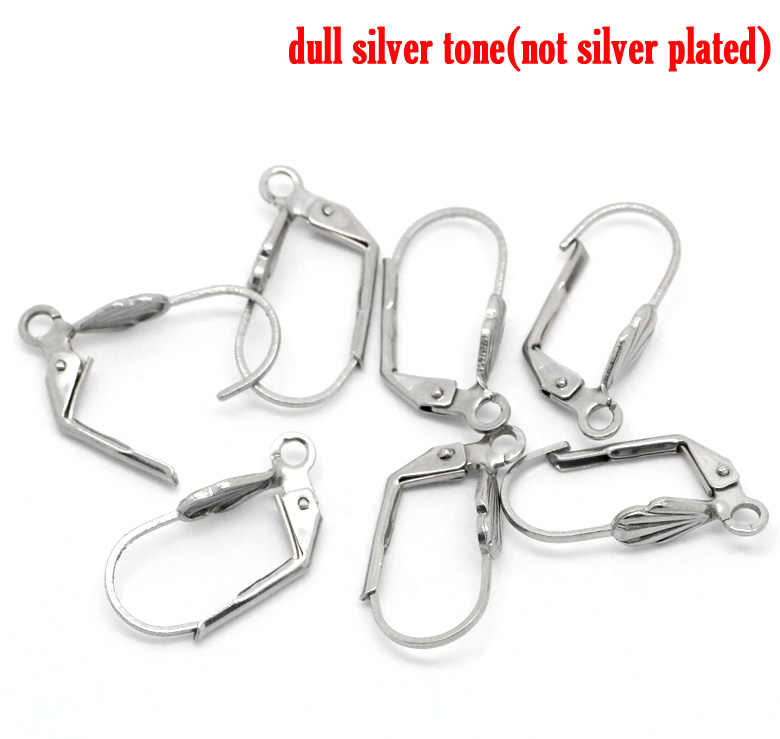 """DoreenBeads Stainless Steel Earring Components Clips Earring Findings Silver Tone 19mm( 6/8"""") x 10mm( 3/8""""), 2 Pieces 2017 new"""