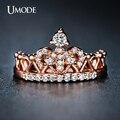 Umode изысканный корона кольцо в форме 18 К роуз позолоченные CZ кольца с бриллиантами для женщин мода позолоченные Aneis де ору ювелирные изделия UR0217