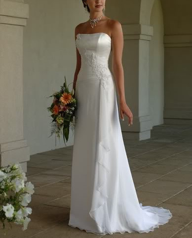 2016 New Free Shipping ! Strapless Chiffon Long Dress With Train White & Ivory Wedding Dresses In Stock TB2425
