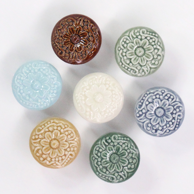 1x Vintage Retro Ceramic Door Knob Wardrobe Cabinet Drawer Pull Kitchen  Cabinet Handle Porcelain Cupboard Handle