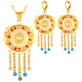 U7 Blue Jewelry Sets For Women Yellow Gold Plated Women Vintage Indian Jewelry Earrings Necklace Sets Wholesale S203