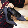 2017 New Denim Leather Women Pumps Sexy Pointed Toe High Heels Wedding Dress Shoes Woman Metal Rivets Slip On Single Shoes Botas