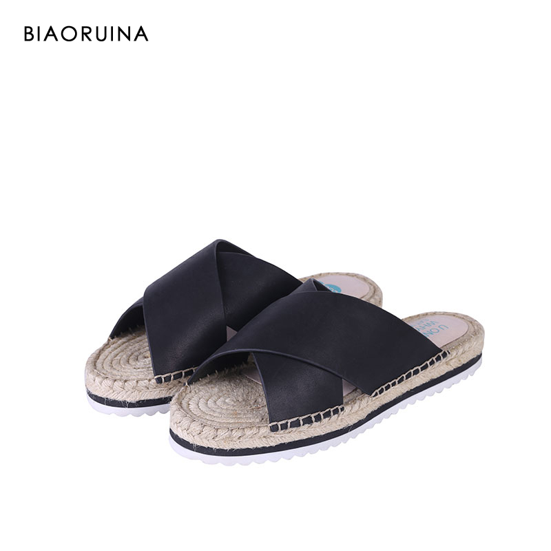 BIAORUINA Women Anti slip Cow Leather Slippers Summer Open Toe Flats Chic Handmade Hemp Shoes Holiday