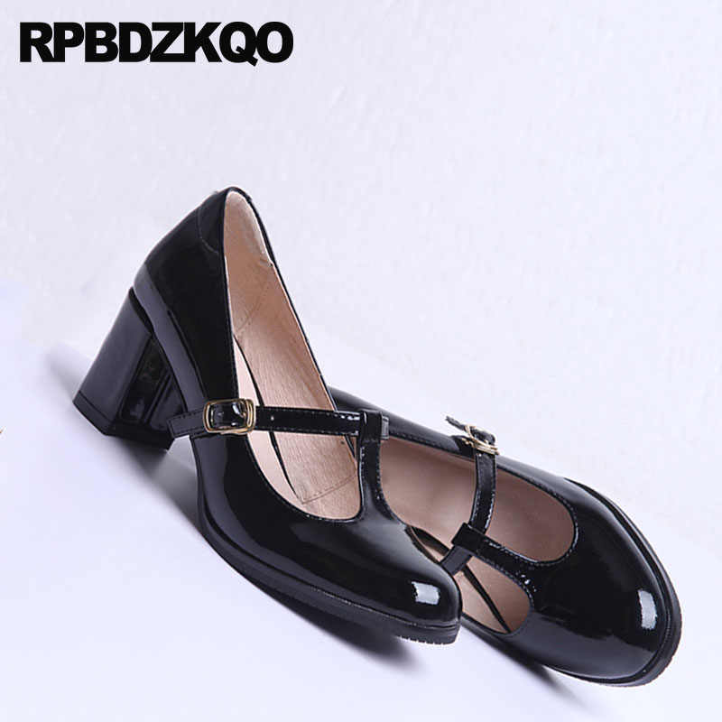 3bd2406680d4f Block Heels Shoes For Women Genuine Leather Thick Black Kawaii Patent Mary  Jane T Strap Retro High Pumps Round Toe Vintage