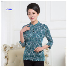 New arrival pure silk knitted lady pullover shirt,100% silk round-neck print shirt women,silk three quarter sleeve blouse