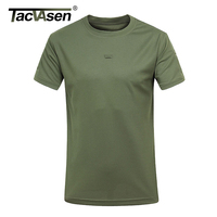 TACVASEN Zomer Militaire Tactische T-shirt Mannen Solid Casual Droge Slim Fitness Shirts Tops Tee O-hals Kraag TD-HZCF-002