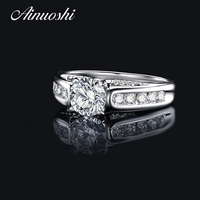 AINUOSHI Fashion 1 ct Round Cut Women Engagement Ring 925 Sterling Silver Wedding Accessories Bridal Customized Rings Jewelry