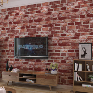 3D Красный Зеленый Кирпич фото обои природа водонепроницаемый настенный фон для гостиной пвх настенная бумага рулон стереоскопический вид ...