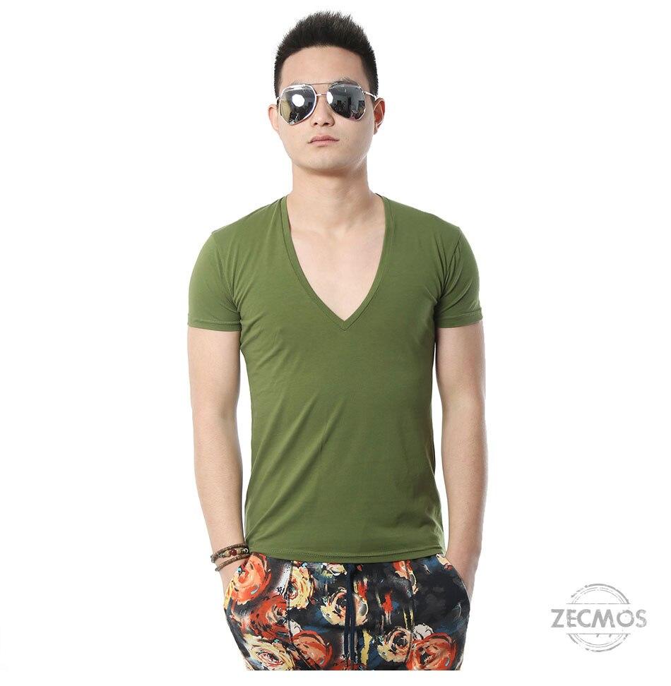 Zecmos Deep V Neck Sexy Men T-Shirt Vintage Short Sleeve Solid Color Muscle Fit T Shirt Men Top Tees Fashion 48