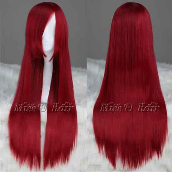 FAIRY TAIL Erza Scarlet peruca Long Dark Red Cosplay Partido Peruca de Cabelo