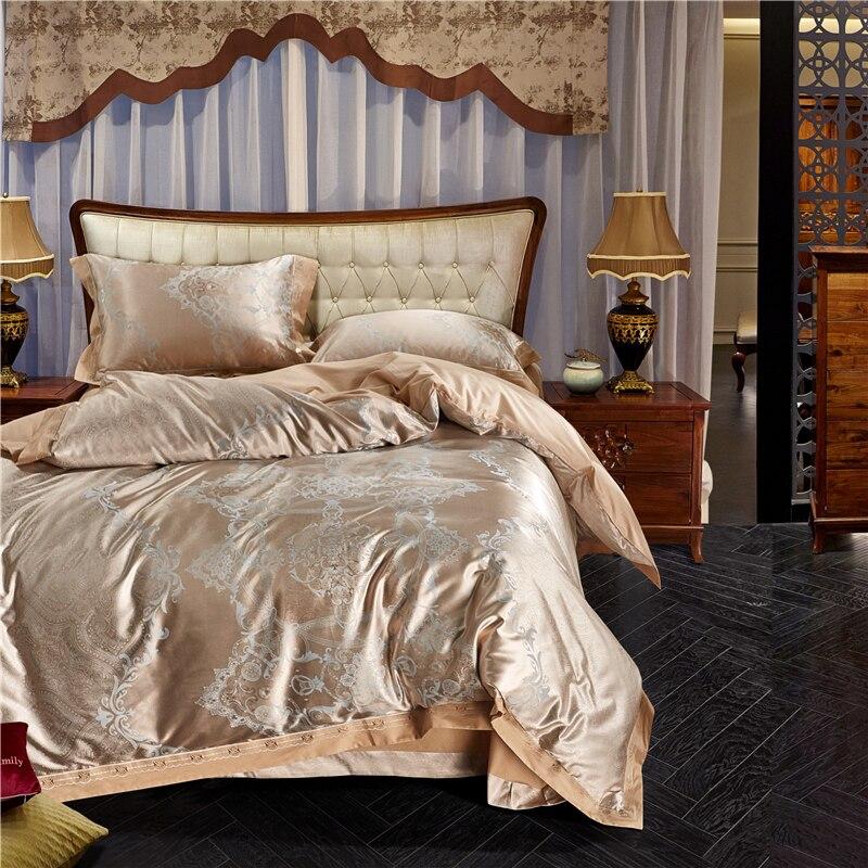 Ensemble de literie imprimé Royal doré reine roi taille soie coton Jacquard housse de couette glissante draps de lit draps plats taies d'oreiller