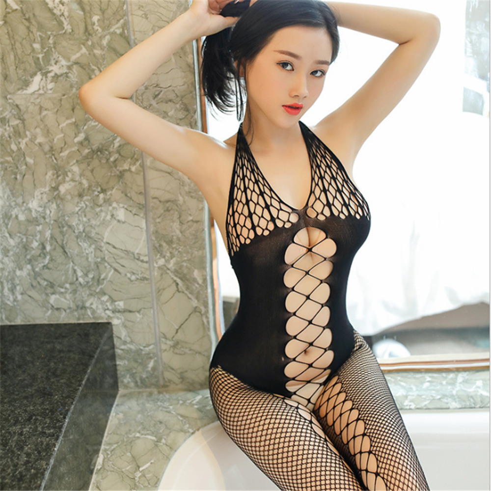 New Transparent Hollow Out Halter Backless Buttocks Corset Hosiery Body Sexy Costumes Catsuit Bodystocking Open Crotch Lingerie