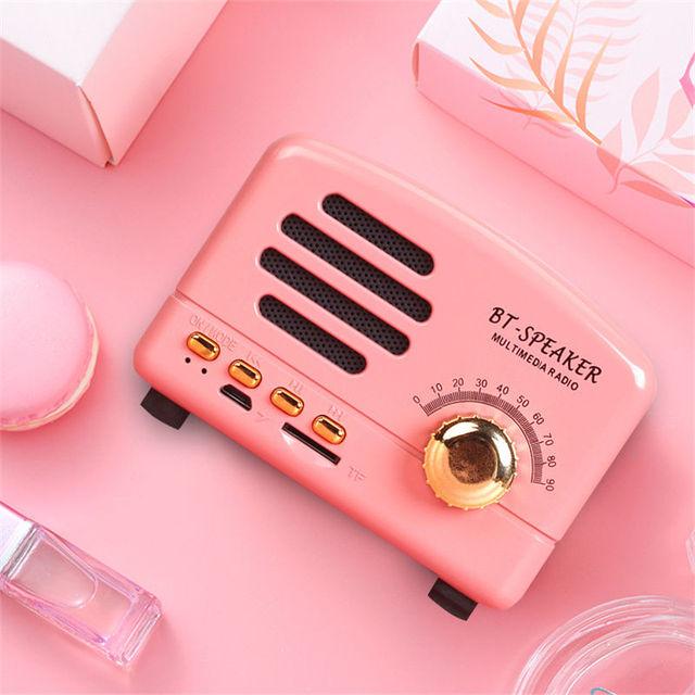 Retro alto falante sem fio bluetooth mini alto falante portátil alto falante baixo pesado ajustável suporte tf cartão fm rádio leitor de música