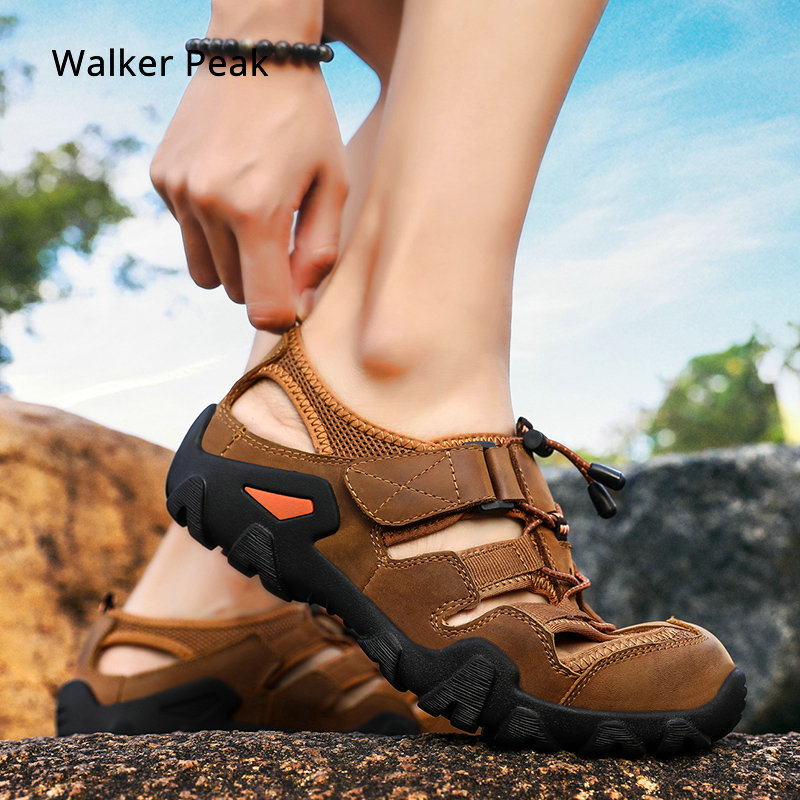 Fashion Summer Mens Sandals Genuine leather Flats Casual Non slip Shoes Beach outdoor Men Driving Shoes