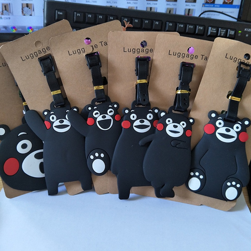 Japan anime Kumamon PVC cosplay Key chain creative soft rubber luggage tag boarding pass bag tags hanging ornaments bags gift