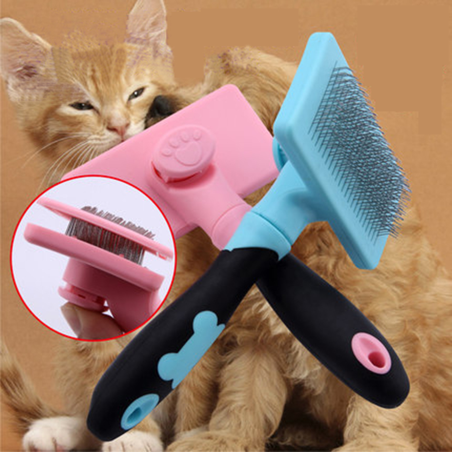 Lovely Non Slip Automatic Floating Hair Removal Comb Dog Grooming Tools Escova Cachorro Curly Items Beauty Massage Comb 70Z1366
