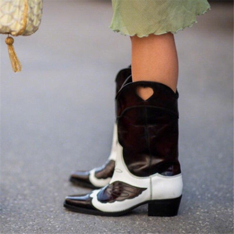 Schuhe Stiefel Schwarzes Westlichen Knie weiß Klassische Hohe Spitz Frauen rosa Cowboy Leder Gesticktes Dunkelbraun Und Zwei ton Weiß COZgZq5R