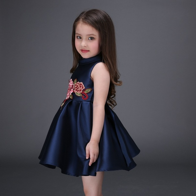2017 new embroidered flower girls dress cotton princess navy blue casual  ball gown for kids clothes