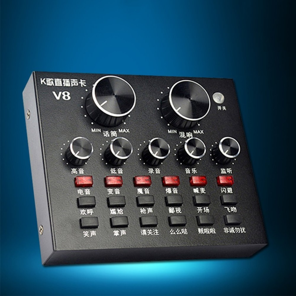 V8 Full Set Of Voice Recorder Computer Anchor Microphone Live Broadcast Equipment Sound Card Set heat live broadcast sound card professional bm 700 condenser mic with webcam package karaoke microphone