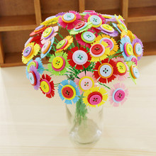 Kids DIY Button Bouquet Flower Craft Kits Kindergarten Handmade Creative Toys Button Flower Teacher Festival Gifts for Children(China)