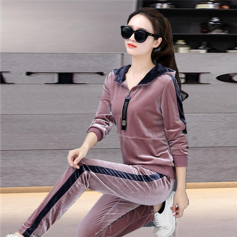 Gold Velvet Tracksuits Women Two Piece Set Top And Pants Casual  Fashion Sense Long Sleeve Sporting Suit Hooded Female Clothes