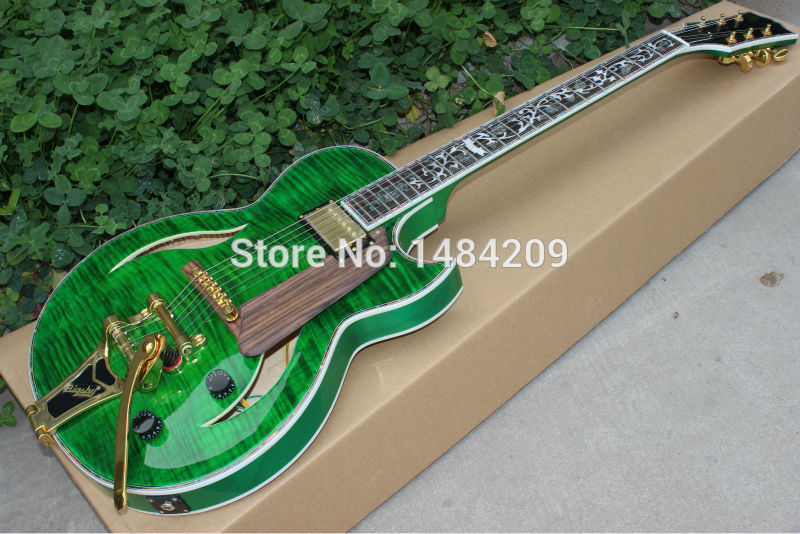 Vicers Wholesale and retail f hole jazz guitar electric guitar artistic green with gold hardware finish! ...