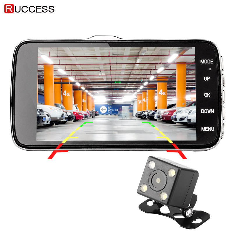 Ruccess DVR 4 Inch IPS Car DVR Dual Lens Camera Full HD 1080p Dash Camera with ADAS FCWS Video Recorder Night Vision Dash Cam anytek t33 5 0in ips touch screen car dvr camera video recorder dual lens adas built in esi electronic anti shaking dash camera