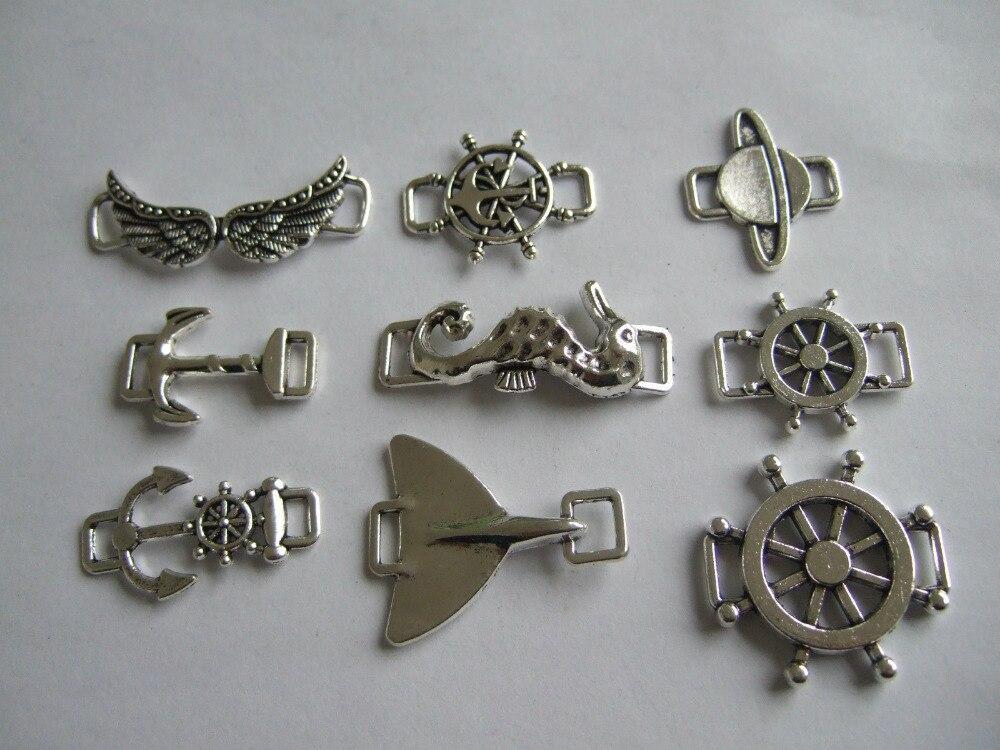 ᗖ10 шт. античный серебряный якорь руль крыло морской конек ...