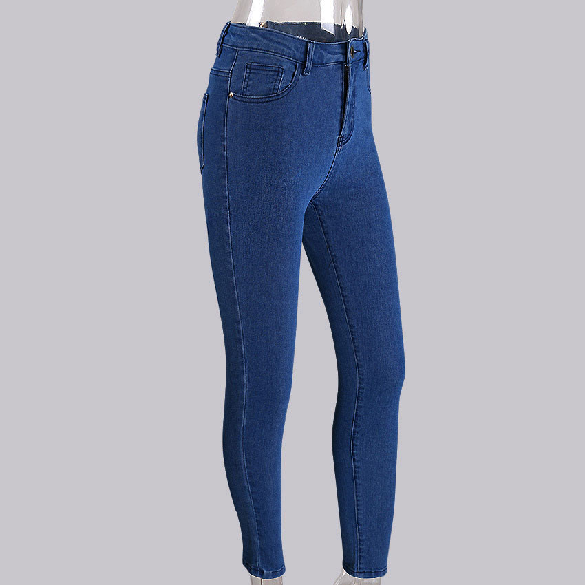 Women's Clothing 1 Pc Women High Waist Jeans Fashion Stretchy Button Fly Denim Skinny Pants Dark Blue Trousers With Pocket 5 Sizes The Latest Fashion