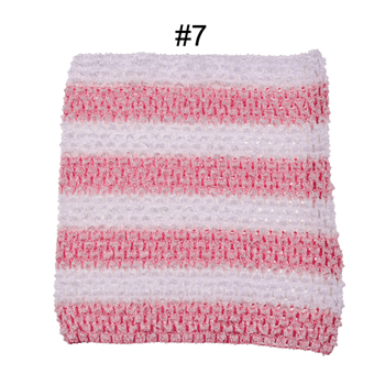 Вязанная крючком юбка-пачка для маленьких девочек, 9 дюймов, топы-трубы, обхват груди, широкая вязаная крючком, топы, юбка-пачка «сделай сам», платье, поставщик - Цвет: Pink white stripe