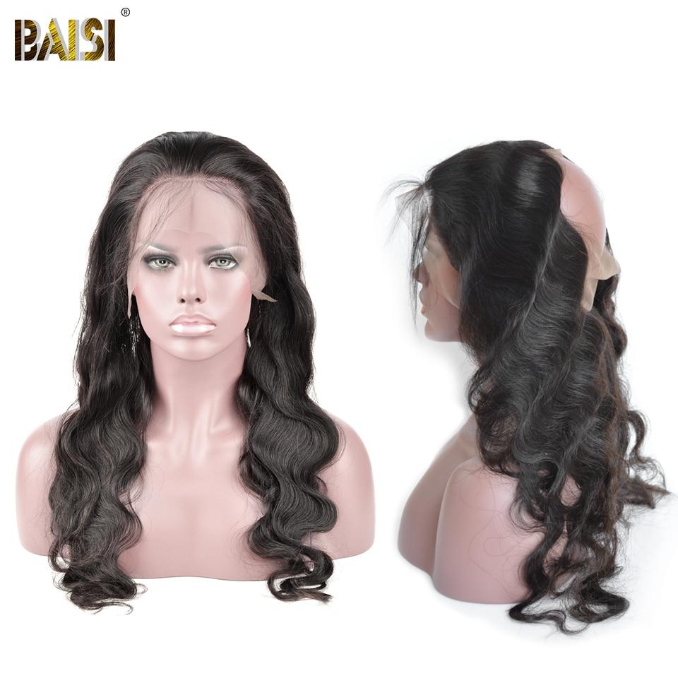 BAISI Body Wave Brazil 360 Lace Frontal 100% Hair Remy Hair Hairline - Rambut manusia (untuk hitam) - Foto 2