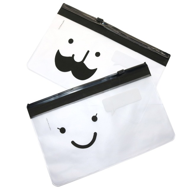 2 Pcs Smiley Face Student Bags Moustache Mr. File Bag Waterproof Translucent Scrub File Bag Stationery Organizer