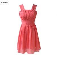 Double Shoulder Chiffon Bride Formal Dress 2016 Bridesmaid Dresses Short Design Plus Size Sleeveless Zipper Customize