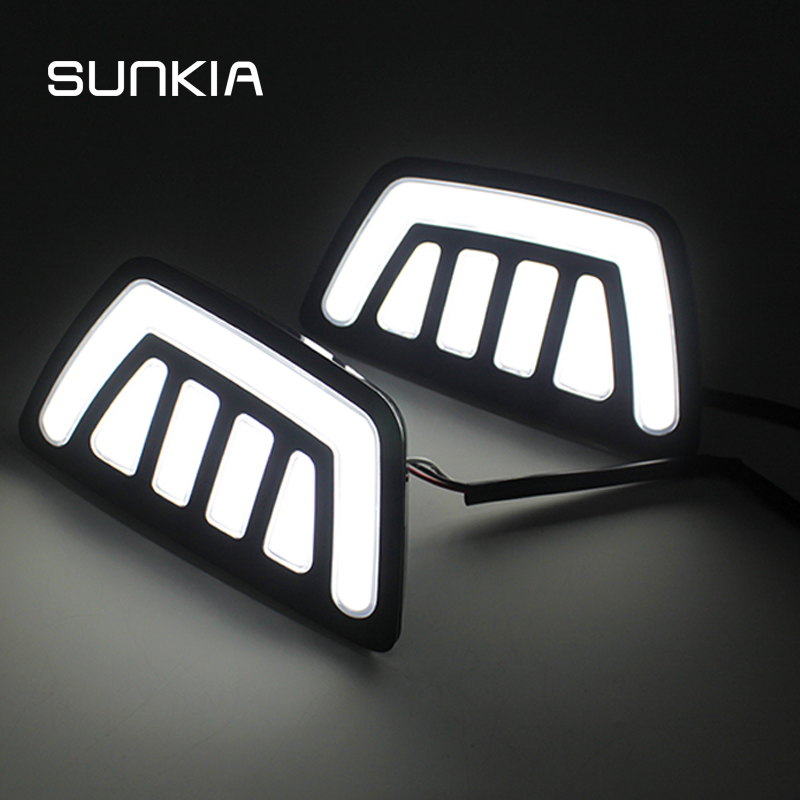 SUNKIA LED Car DRL Daytime Running Lights with Turn Signal and Dimmed Style with Fog Lamp